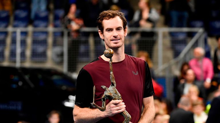 Andy Murray lifting the trophy at the European Open in Antwerp