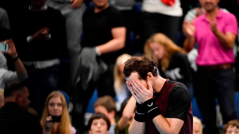Britain's Andy Murray celebrates and reacts after winning against Switzerland's Stanislas Wawrinka in their men's single tennis final match of the European Open ATP Antwerp, on October 20, 2019 in Antwerp.