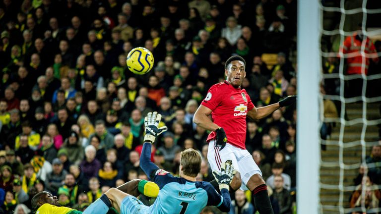 Anthony Martial scores for Manchester United against Norwich City