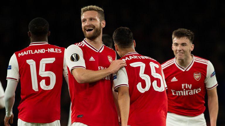 Arsenal's Gabriel Martinelli celebrates his Europa League goal with Shkodran Mustafi