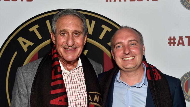 Arthur Blank and Darren Eales at the MLS Atlanta Launch Event at SOHO on July 7, 2015 in Atlanta, Georgia.