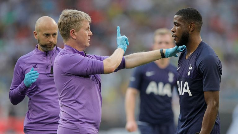 Tottenham's Serge Aurier is checked for signs of concussion by medical staff