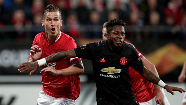 Fred is challenged for a cross in AZ Alkmaar vs Manchester United