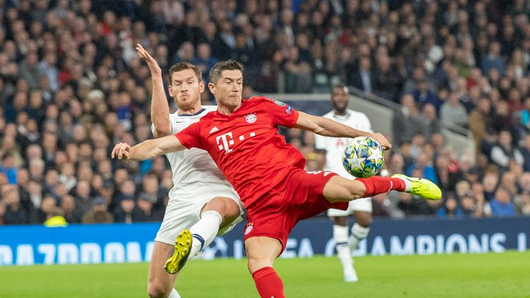 Lewandowski netted twice in Bayern's 7-2 victory against Tottenham in the Champions League group stage