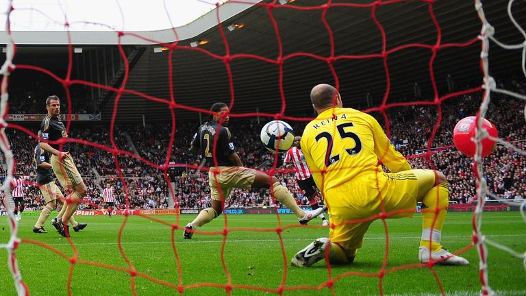 during the Barclays Premier League match between Sunderland and  Liverpool at the Stadium of Light on October 17, 2009 in Sunderland, England.