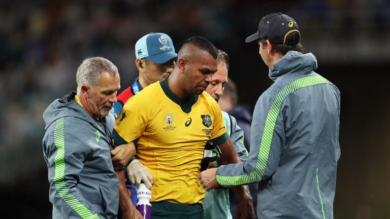 Australia lost key man Kurtley Beale to injury early on and will hope he is fit for their quarter-final - likely to be against England
