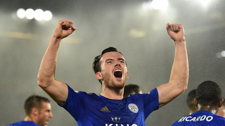 Ben Chilwell celebrates putting Leicester ahead at Southampton