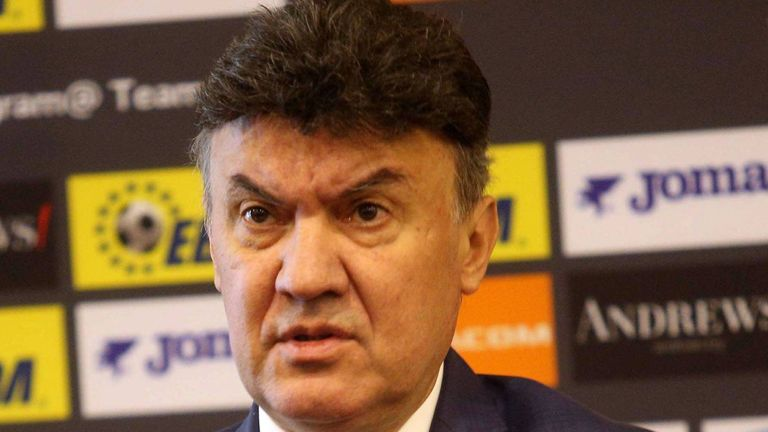 Former President of the Bulgarian Football Union Borislav Mikhailov pictured during a press conference in May 2019