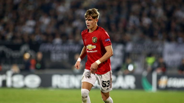 Brandon Williams of Manchester United during the Europa League match against Partizan