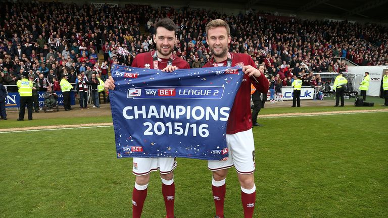 Joel Byrom (right) won the League Two title under Wilder in 2016