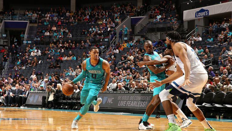 Miles Bridges of the Charlotte Hornets handles the ball against the Minnesota Timberwolves
