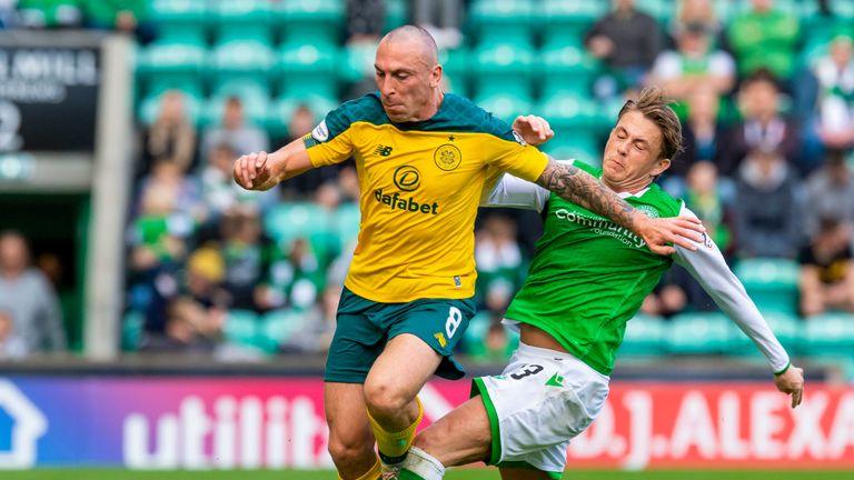 Celtic's Scott Brown and Hibernian's Scott Allan