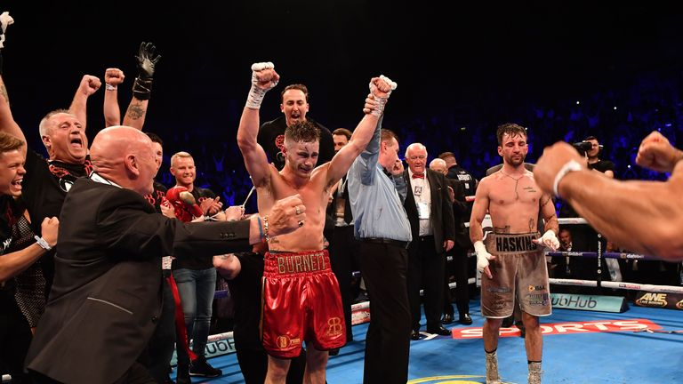 Burnett won his first world title in just 17 fights after beating Lee Haskins