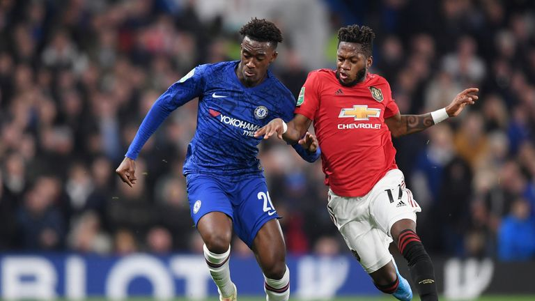 Callum Hudson-Odoi is challenged by Fred