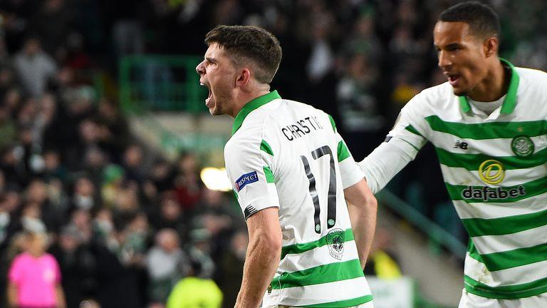 Ryan Christie celebrates his equaliser for Celtic against Lazio