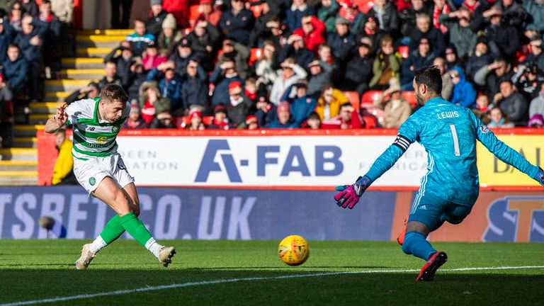 Celtic's James Forrest scores to make it 3-0 during the Ladbrokes Premiership match between Aberdeen and Celtic, at Pittodrie Stadium, on October 27 2019, in Aberdeen, Scotland.