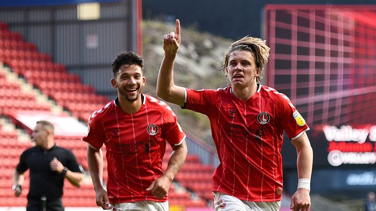 Charlton Athletic's Conor Gallagher (right) celebrates scoring his side's third goal of the game