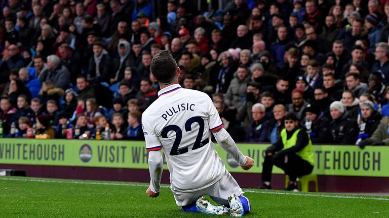 Chelsea's Christian Pulisic celebrates scoring his first goal at Burnley
