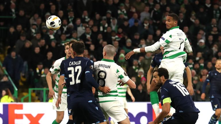 Celtic's Christopher Jullien scoring the winner against Lazio in the Europa League