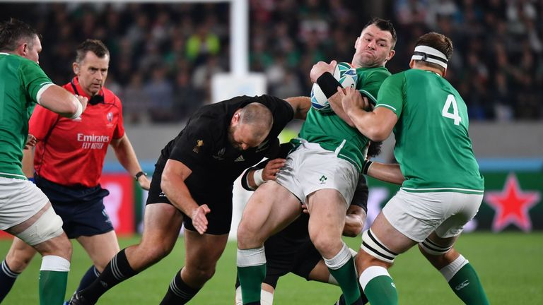 Cian Healy (2nd R) in action during the 2019 Rugby World Cup quarter-final match between New Zealand and Ireland