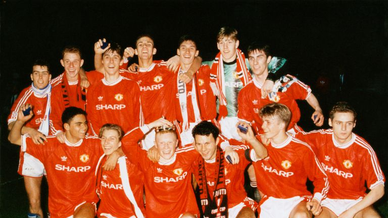 Gary Neville captained Man Utd's FA Youth Cup winning team in 1992