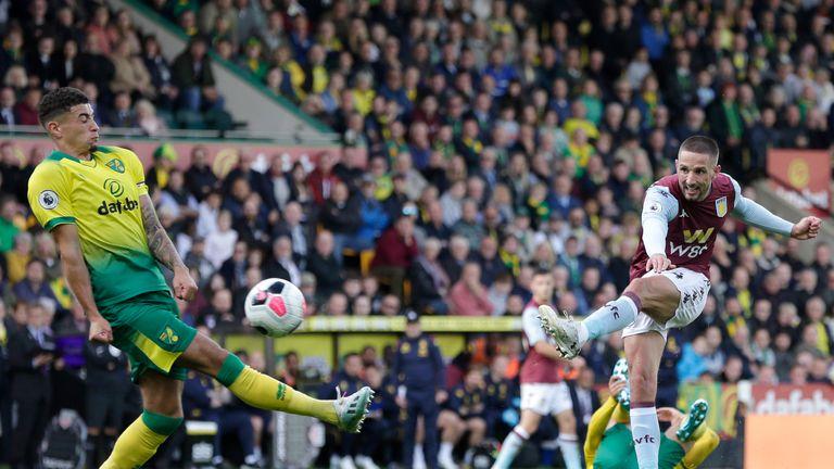 Conor Hourihane of Aston Villa scores his side's fourth goal against Norwich