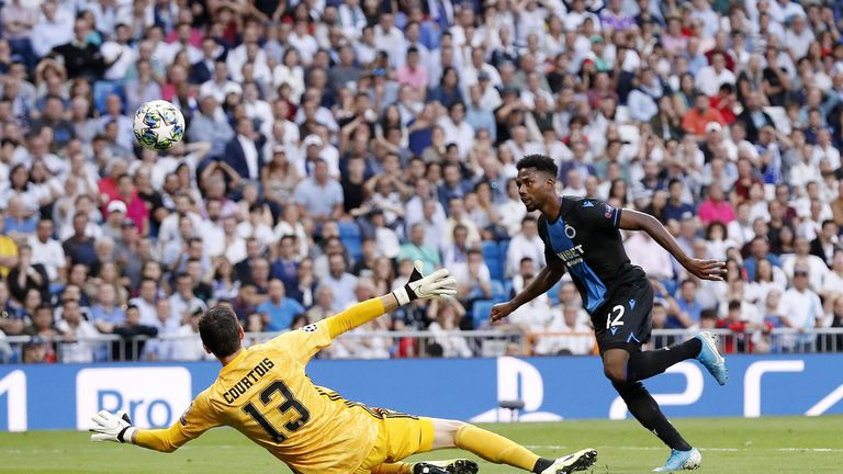 Dennis chipped Courtois for Club Brugge's second at the Bernabeu in October
