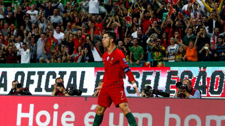 Cristiano Ronaldo scores for Portugal against Luxembourg