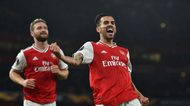 Dani Cabellos celebrates scoring Arsenal's fourth goal vs Standard Liege