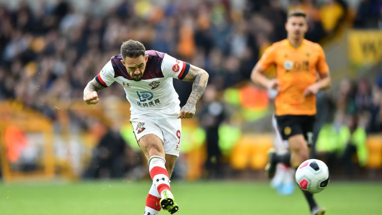 Danny Ings scores the first goal of the game at Molineux