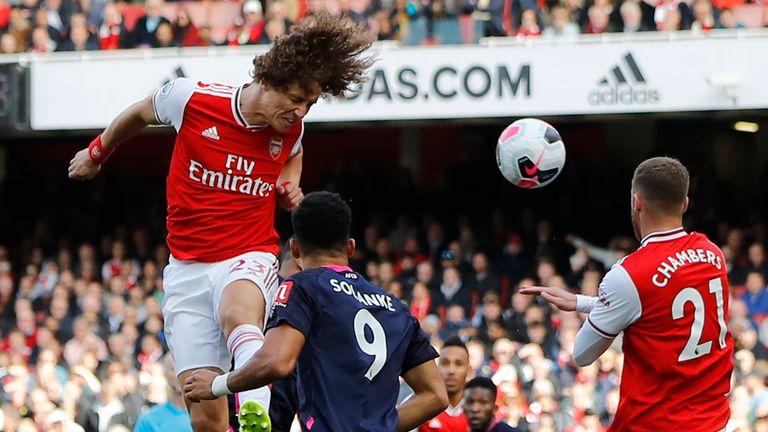David Luiz heads Arsenal into a 1-0 lead