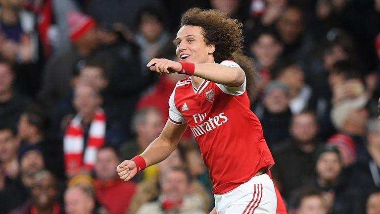 David Luiz celebrates after scoring Arsenal's second goal vs Crystal Palace