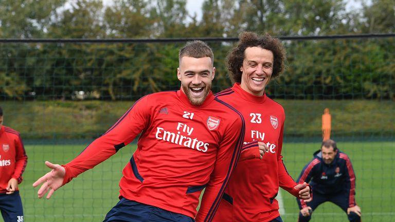 Arsenal defenders Calum Chambers and David Luiz in training