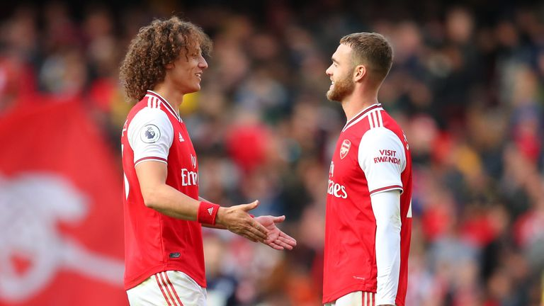 David Luiz and Calum Chambers celebrate Arsenal's win over Bournemouth