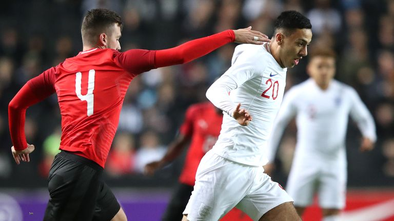 Dwight McNeil on the ball for England U21s