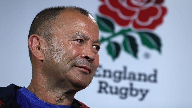 Eddie Jones, the England head coach faces the media during the England media session on October 17, 2019 in Beppu, Japan.