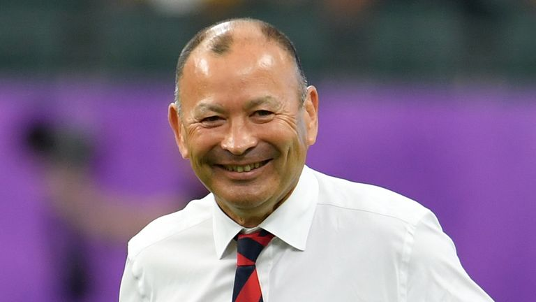 England's head coach Eddie Jones during the pre match warm up before the Rugby World Cup 2019 Quarter Final match between England and Australia at Oita Stadium on October 19, 2019 in Oita, Japan.