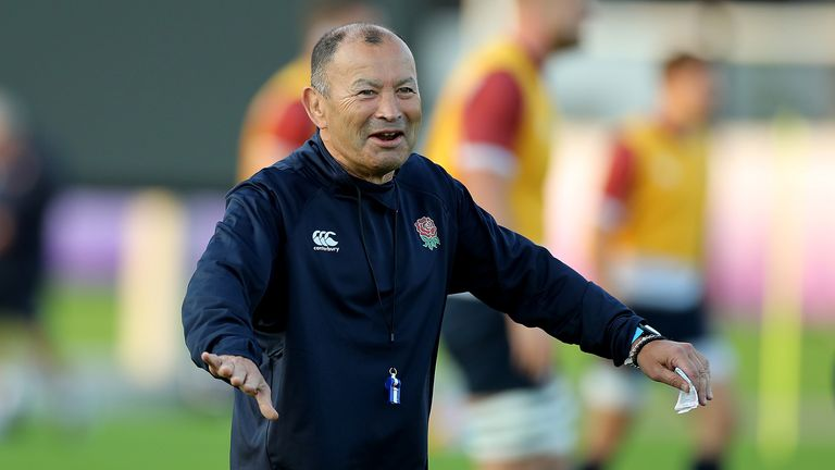 Eddie Jones, the England head coach looks on during the England training session held at Arcs Urayasi Park on October 23, 2019 in Tokyo, Japan.