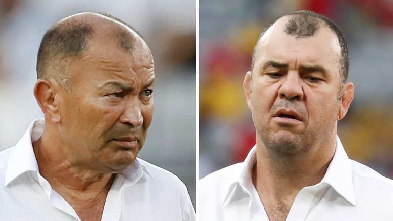 (COMBO) This combination photo created on October 16, 2019 shows England's head coach Eddie Jones before the Japan 2019 Rugby World Cup Pool C match between England and Argentina in Tokyo on October 5, 2019 (L) and Australia's head coach Michael Cheika before the Pool D match between Australia and Wales in Tokyo on September 29, 2019. - Australian coaches Eddie Jones and Michael Cheika will renew a rivalry stretching back more than 30 years when Jones's England face the Wallabies in Saturday's W