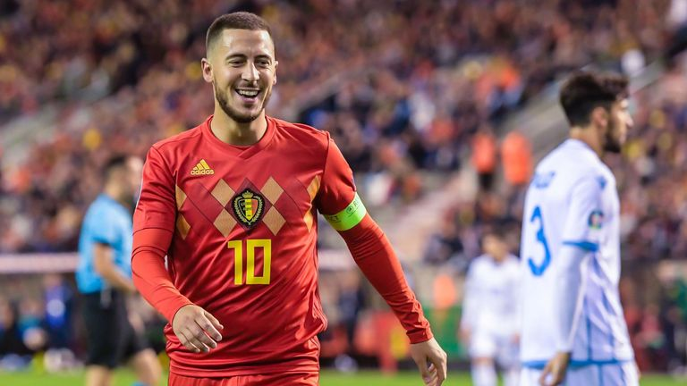 Eden Hazard of Belgium during the UEFA EURO 2020 qualifier group I match between Belgium and San Marino at the King Baudouin Stadium on October 10, 2019 in Brussels, Belgium(