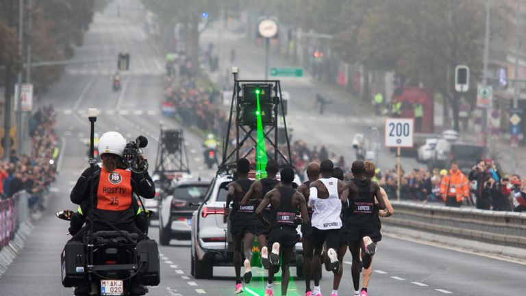 Kenya's Eliud Kipchoge attempts to bust the mythical two-hour barrier for the marathon on October 12 2019 in Vienna.