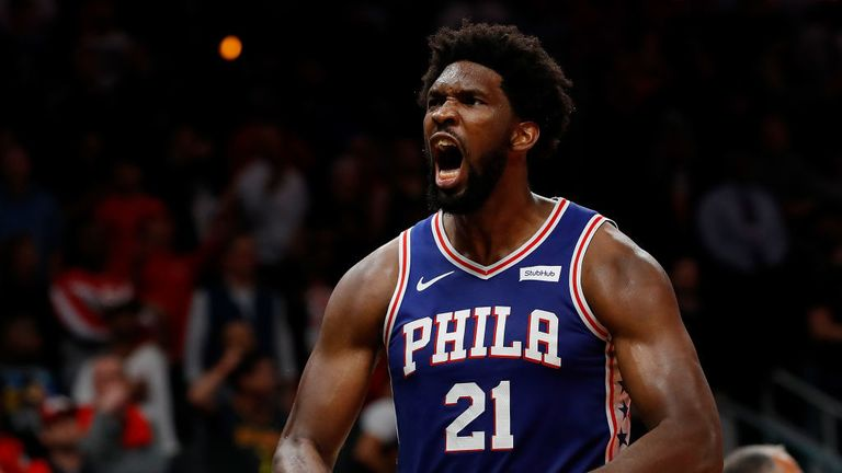 Joel Embiid of the Philadelphia 76ers reacts after their 105-103 win over the Atlanta Hawks