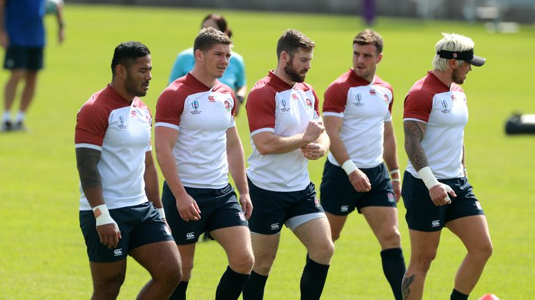 Manu Tuilagi, Owen Farrell, Elliot Daly, George Ford and Jack Nowell look on during the England training session at Fuchu Asahi Football Park on October 01, 2019 in Tokyo, Japan.