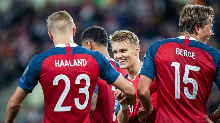 Haaland made his senior Norway bow in a side which included Martin Odegaard