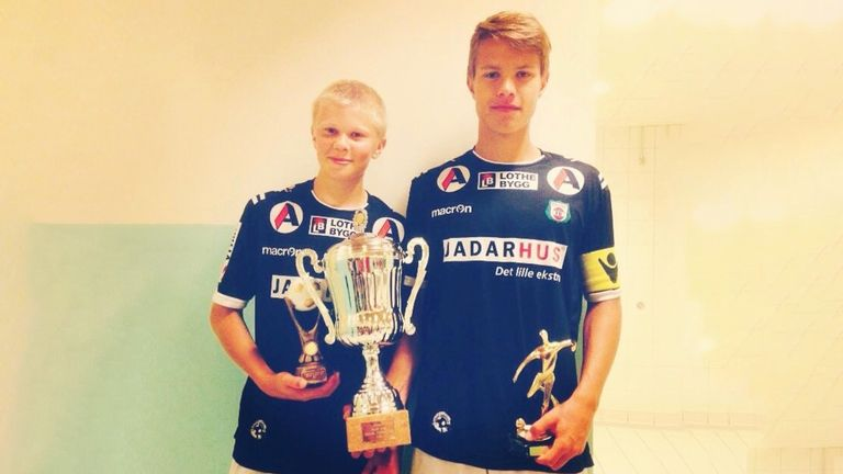 Erling Haaland (left) pictured alongside his former Bryne team-mate Tord Salte at the age of 14