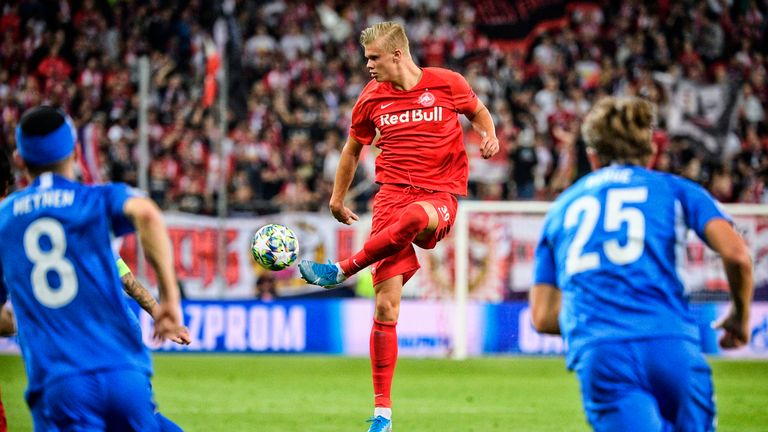 Erling Haaland has scored 17 goals in 10 games for RB Salzburg this season