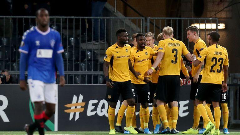 Young Boys celebrate Roger Assale's equaliser against Rangers