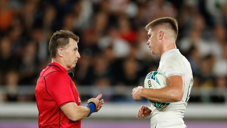Referee Nigel Owens, in consultation with his TMO, ruled out two further England tries