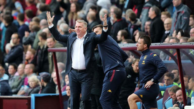 Aston Villa manager Dean Smith shows his frustration after their goal against Brighton is ruled out by VAR.