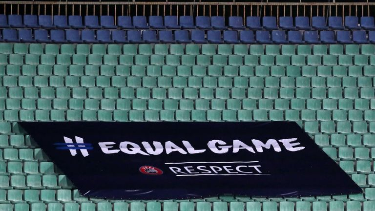 Equal Game banners were displayed across the empty seats at the Levski National Stadium